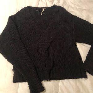 Free people black sweater (cropped)